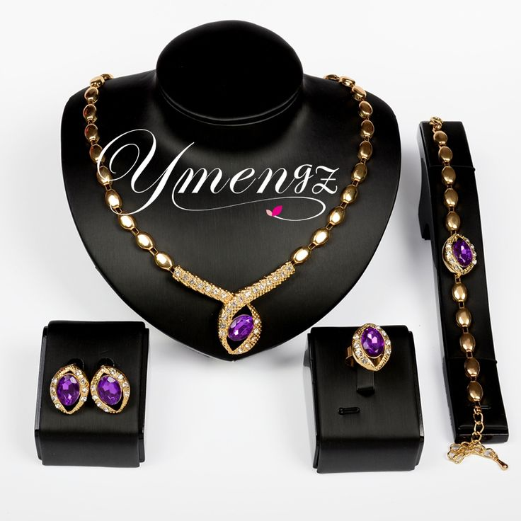 YMENGZ Hot Sale Newest Crystal Pendant Necklace Bracelet Ring Stud Earring Jewelry Sets For Women Fashion Jewelry Party Gifts