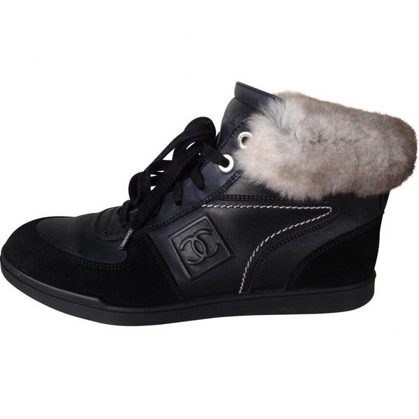 Pre-owned Chanel Black Leather Trainers (8 690 SEK) ❤ liked on Polyvore featuring shoes, sneakers, black, women shoes trainers, black trainers, chanel sneakers, black leather shoes, leather shoes and black shoes