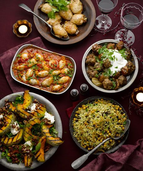 Ottolenghi feast: chicken with barberries and feta, lamb meatballs with yoghurt and herbs, basmati and wild rice with chickpeas, currants and herbs