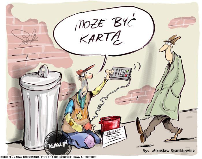 Nowoczesny żebrak | Komiksy KUKU.pl - komiksy, żarty, dowcipy rysunkowe i śmieszne rysunki