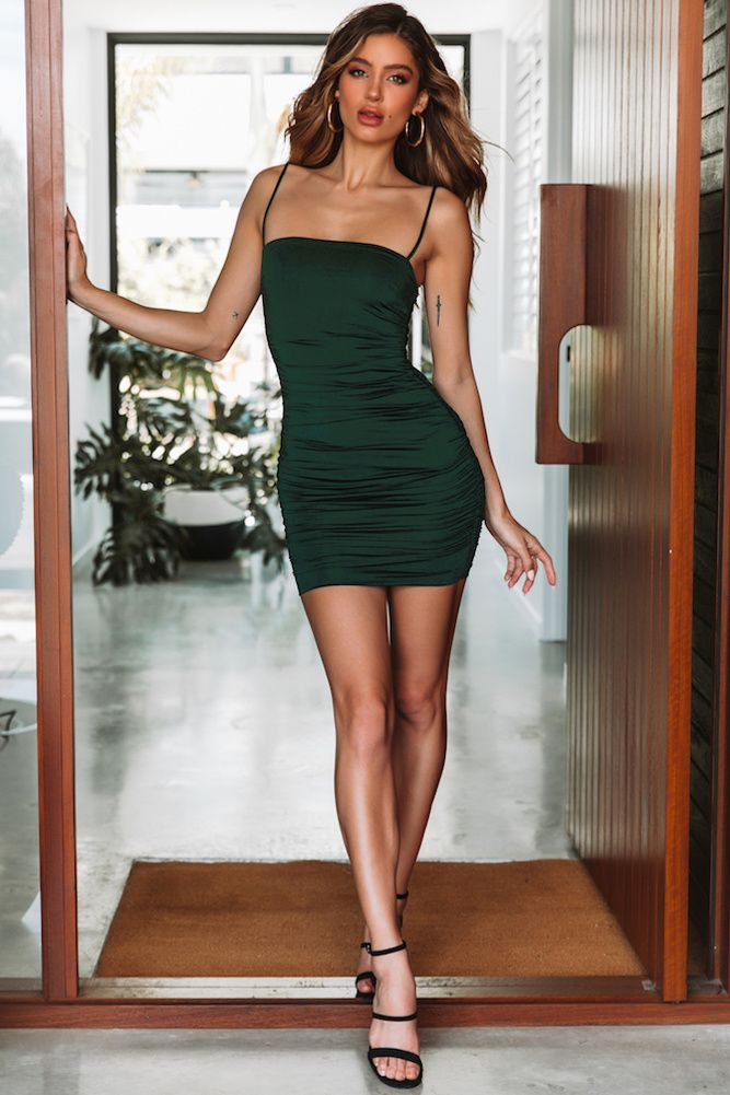 tight green homecoming dress