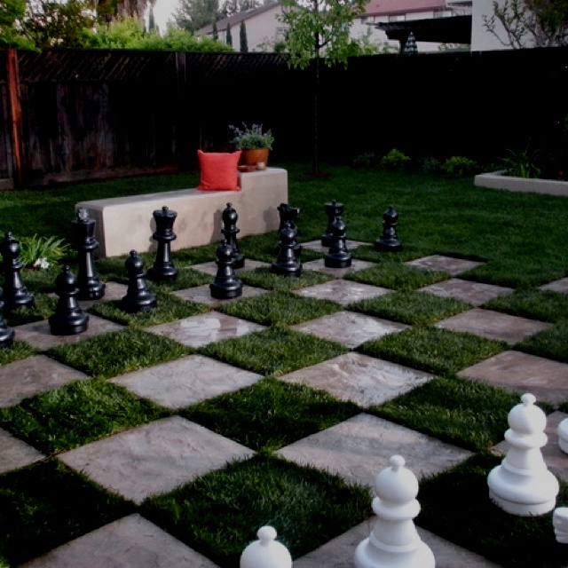 Backyard Crashers Sign Up: Just Saw This Chess Board Patio Made Of Sod And Concrete