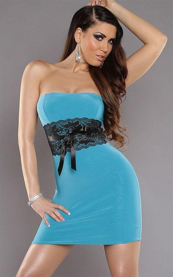 BLAU Minikleid Kleid Top One Size 32 34 36 Partykleid Spitze Bandeau Clubwear