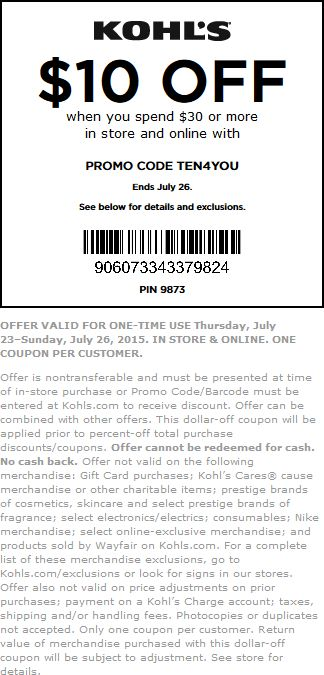 kohls coupons codes july