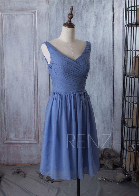 2016 Slate Blue Bridesmaid dress Short Wedding dress by RenzRags