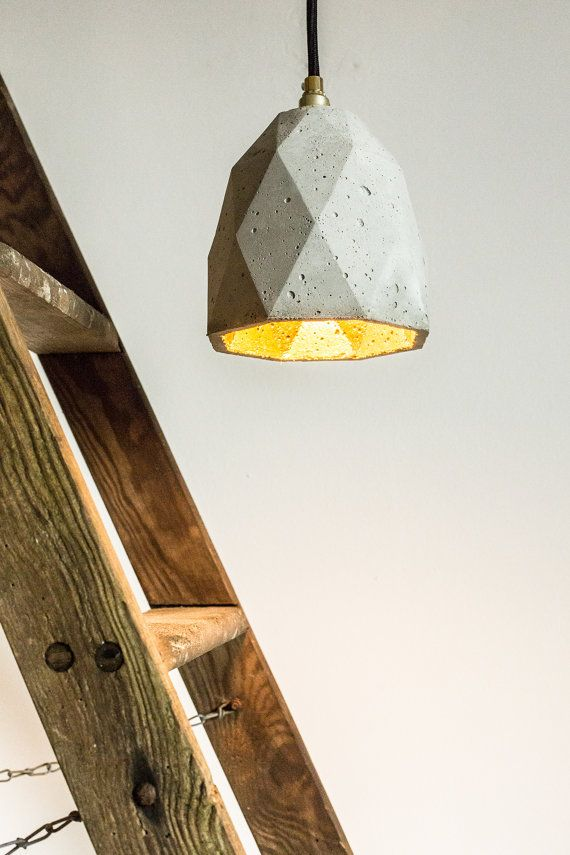 Hanging lamp T1 #concrete gold designer #ceiling #lamp by #GANTlights, €110.00 #Beton #Deckenleuchte