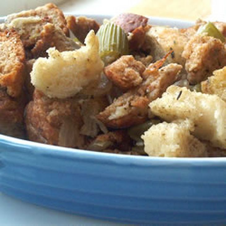 Bread and Celery Stuffing Recipe Side Dishes with white bread, butter, onion, celery, poultry seasoning, salt, pepper, chicken broth
