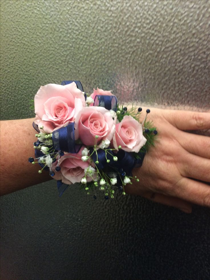 Pink Spray Rose Corsage With Navy Blue Ribbon Homecoming