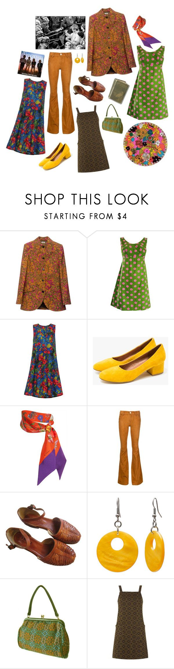 """""""Year 1968"""" by dulceelena ❤ liked on Polyvore featuring Miu Miu, Jeffrey Campbell, Gucci, Alice + Olivia, Mixit and Innocence"""