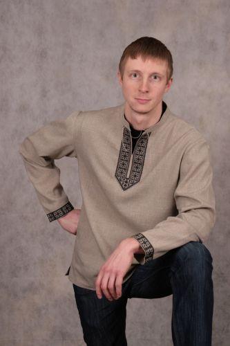 Русская льняная рубаха с вышивкой «Богатырь»