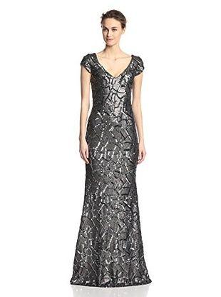 Langhem Women's Olivia Cap Sleeve Sequin Gown (Charcoal)