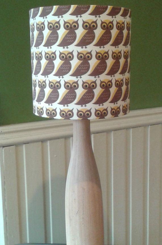 Handmade Vintage Owl Fabric Lamp Shade by LightFlightLighting, £20.00