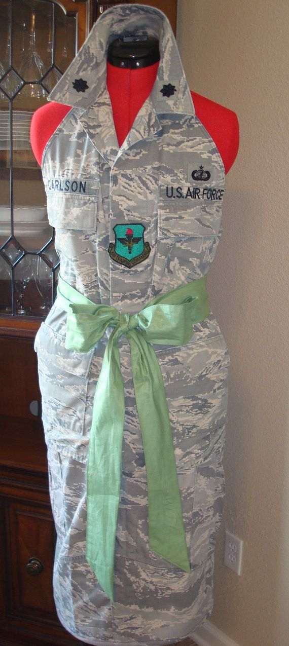 Personalized Air Force Wife Apron ABU AF Uniform by CARENALYNN, $50.00. Give me some time & I think I could make this.