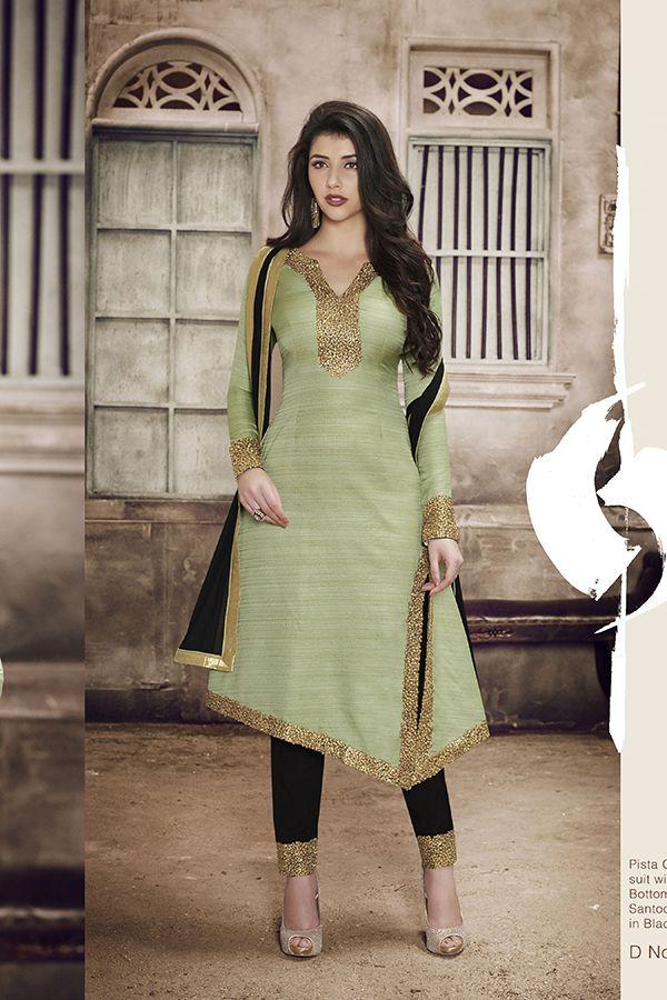 Light Green Color Khadi Silk Fabric Salwar Suit