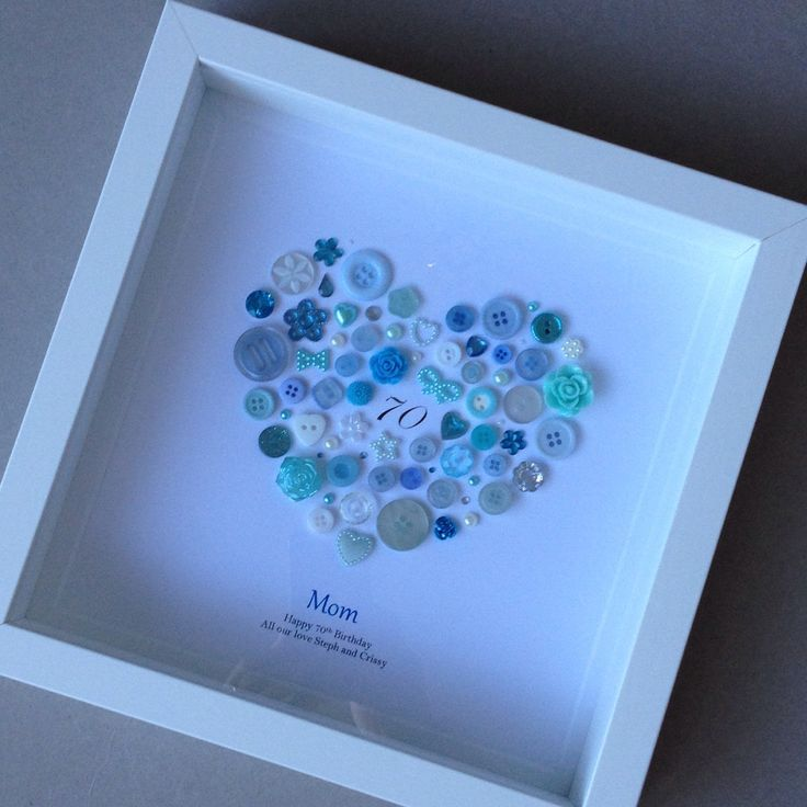 Custom order for another wonderful customer. She wanted a birthday button frame for her mum who loves the colour blue