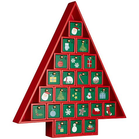 Buy John Lewis Wooden Advent Calendar, Red Online at johnlewis.com