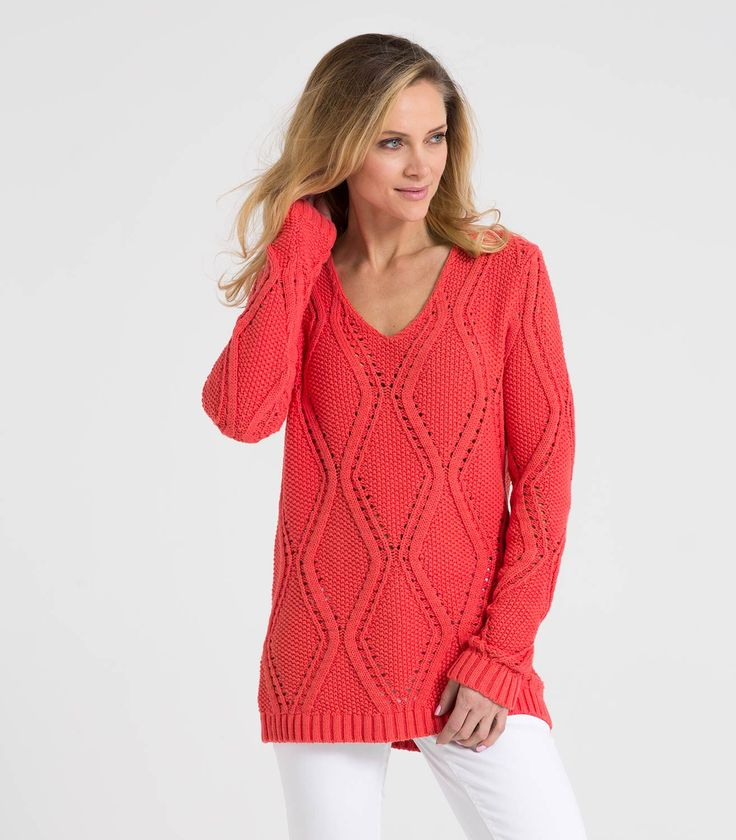 Womens 100% Cotton V Neck Pointelle Sweater Coral Marl / Style Code: T09L #pure #cotton #pointelle #jumper
