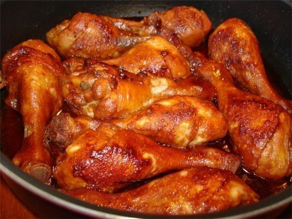 Chicken legs in soy-honey sauce