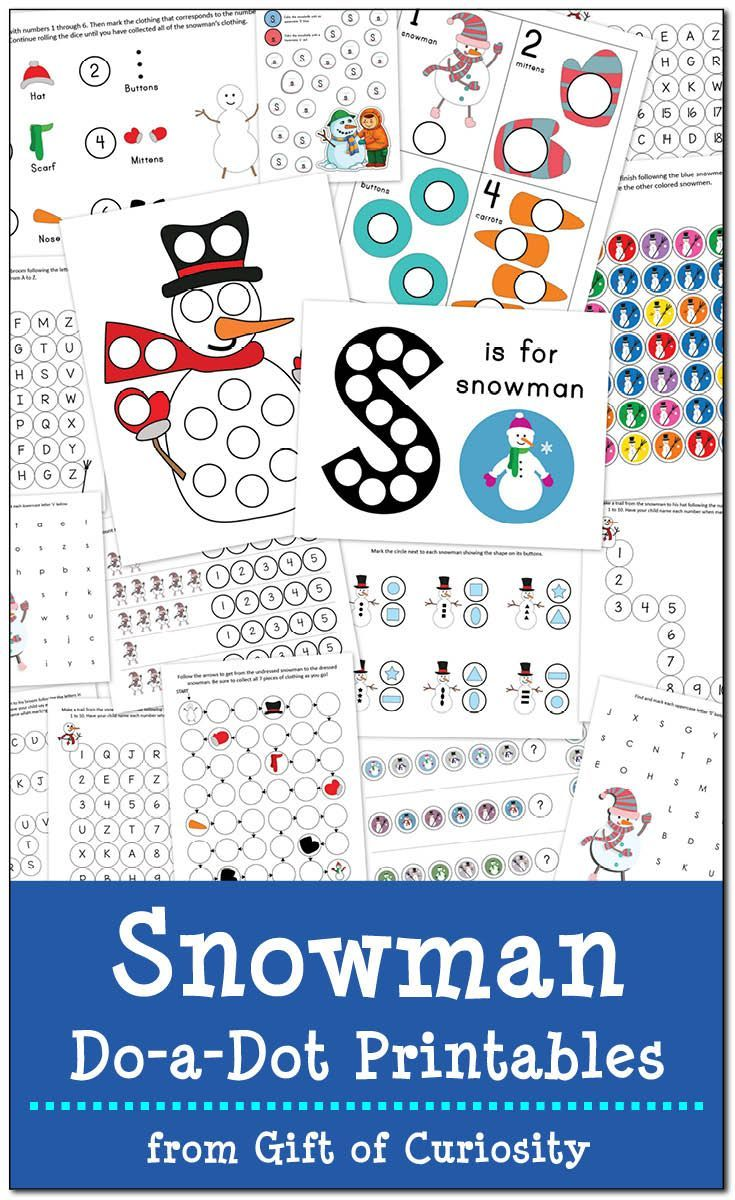 Free Snowman Do-a-Dot Printables: 17 pages of snowman do-a-dot worksheets to help kids ages 2-6 work on one-to-one correspondence, shapes, colors, patterning, letters, and numbers || Gift of Curiosity