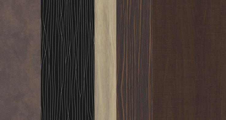 Décor #polyrey  collection Inspiration #luxe  B140 buffle, S070 serpentin noir, N056 noisetier naturel, E042 ébène oranga, C138 chêne cut wengé