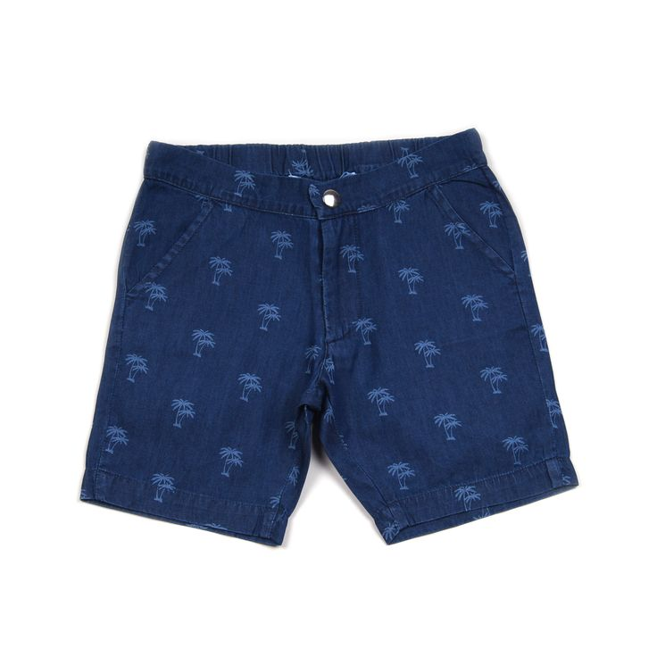 Knast slim fit denim shorts with palm tree print, pockets on front and elasticised back. 100% cotton. Made in Turkey. $62.95 http://www.danskkids.com.au/collections/spring-summer-2015/products/knast-norman-shorts