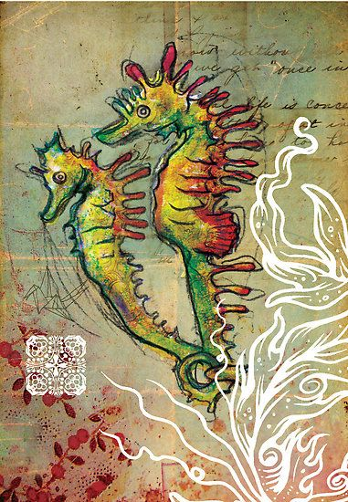 Seahorse Love - Mixed Media by Narelle Craven.    Media: fabric off cuts, found objects, sharpie, pencil, wacom board, watercolour paint, photoshop, illustrator.