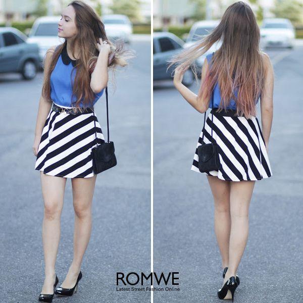 Dual-tone Striped Skirt
