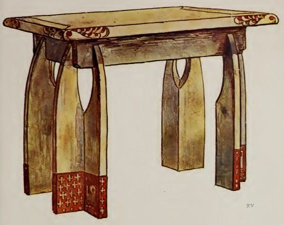 Illustration: Aleksei Zinovief. Wooden table design, 1906. #artsandcrafts
