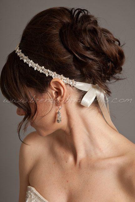 Crystal Rhinestone Ribbon Tie On Headband, Marquise and Round Cut Rhinestones, Wedding Headband - Jolie