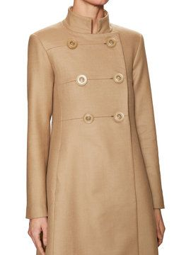 Wool Midi Coat with Detachable Faux Fur Collar from Outerwear Shop: Designer Jackets on Gilt