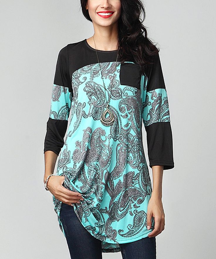 Another great find on #zulily! Aqua Paisley Contrast Sleeve Tunic by Reborn Collection #zulilyfinds