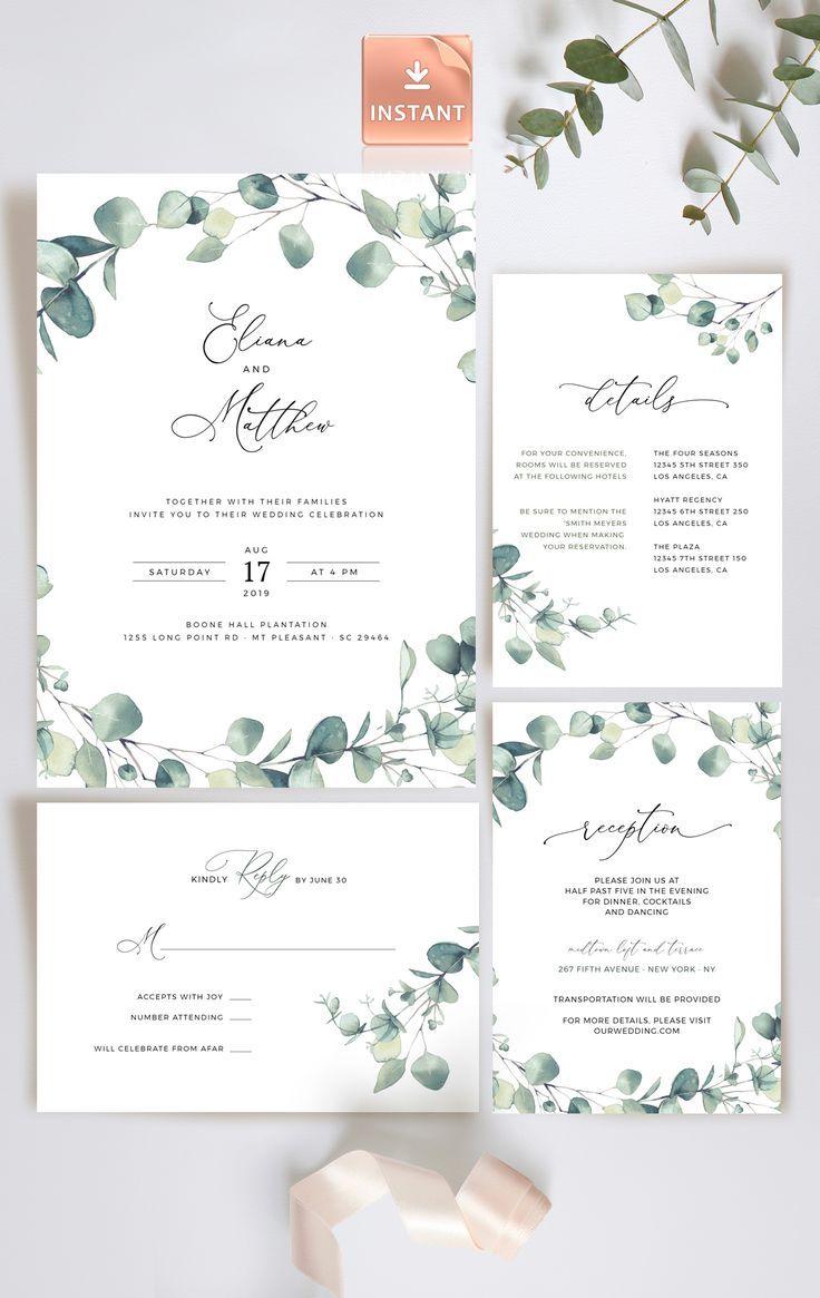Bohemian Wedding Invitation Template Eucalyptus Diy