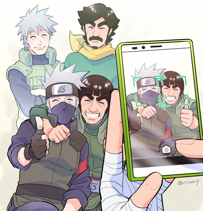 Hatake Sakumo, Maito Dai, Hatake Kakashi, and Might Gai