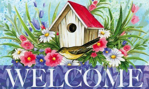 """Evergreen Birdhouse Welcome,Silk Reflections Indoor or Outdoor Floormat,30x18 Inches by Ashley Gifts. $18.99. The size is: 30""""x18"""". Please check ASIN: B0061I1WT8 for Doormat Frame. Polyester with Recycled Rubber Slide-resistant backing Backing,. Anti-fague relief. Mildew resistant;Easy Care and Washable, Lay Flat or Hang to Air Dry. The stems surround this simple birdhouse as if they are the garden designed by the birds inside. Bright pink, white, and purple peta..."""
