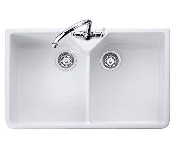 Delightful Rangemaster Double Bowl Belfast White Ceramic Kitchen Sink Image