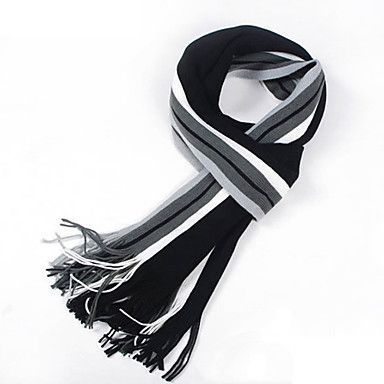 The+Latest+Men's+Striped+Scarf+Long+Korean+Spell+Color+Knit+Warm+Scarves+–+USD+$+11.69