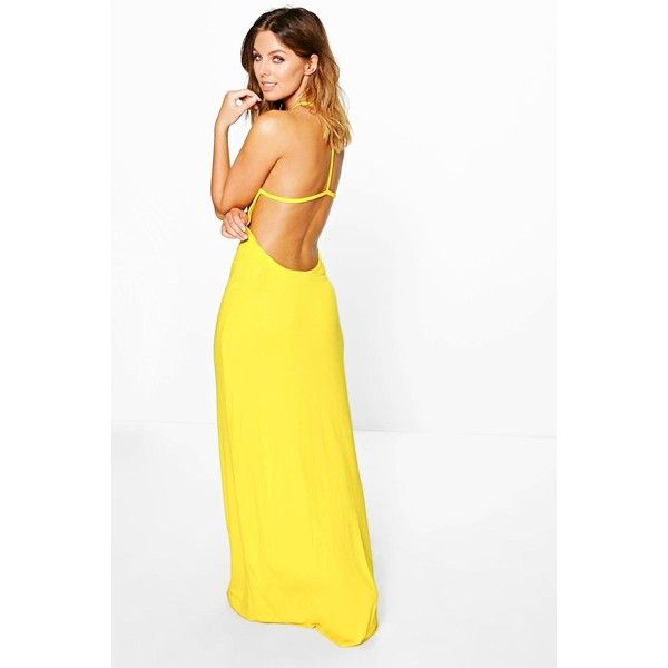 Boohoo Amy Strappy Back Maxi Dress ($28) ❤ liked on Polyvore featuring dresses, yellow, white strappy dress, strappy maxi dress, holiday party dresses, yellow party dress and mini party dresses