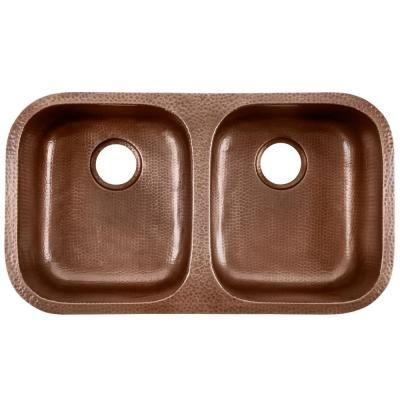 Awesome Glacier Bay Undermount Pure Solid Copper Sink In. Double Bowl Kitchen Sink  In Hammered Antique Copper