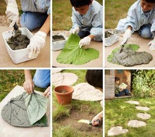 Uma folha para usar de carimbo no cimento = caminho no jardim