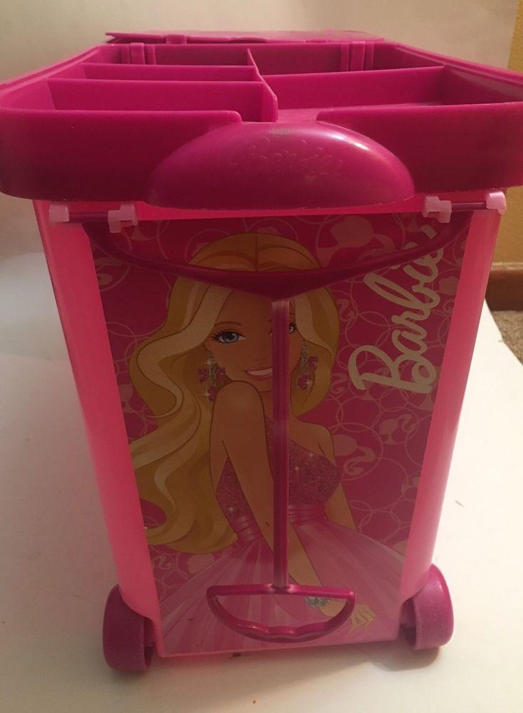Barbie Store It All Rolling Storage Case Bin Great Doll Organizer Used! Clean! #Mattel