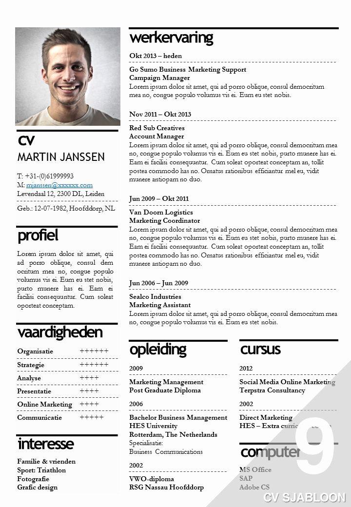 Curriculum Vitae Template Word Fresh Cv Voorbeeld Word Google Zoeken Cv Pinterest Curriculum Vitae Template Cv Template Downloadable Resume Template