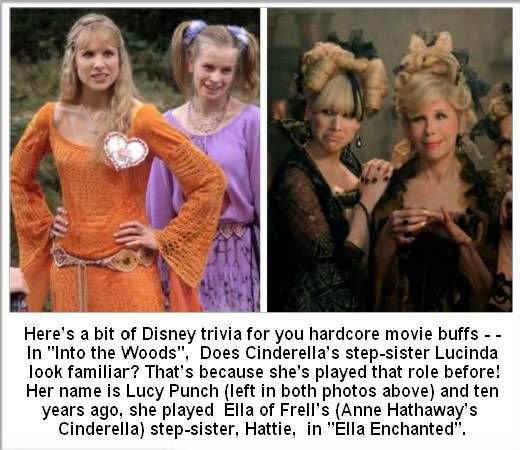 "Lucy Punch, step-sister in ""Into the Woods"" and ""Ella Enchanted""."