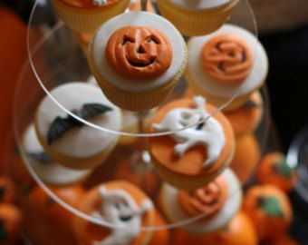 12 decorazioni per torte commestibili di zucchero Halloween fantasmi toppers cupcake di zucche pipistrelli