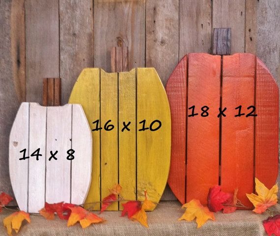 Rustic Wood Pumpkins. Great pumpkin set to use year after year to decorate your home, front porch or yard for autumn, Thanksgiving or Halloween. Large - 18 x 12 Med - 16 x 10 Sm - 14 x 8  NOTE: This 3pc set is for 1 Large, 1 Medium & 1 Small. To choose the color you want for the LARGE & MEDIUM: click the Select An Option tab and pick the color you want for each size. For the SMALL: when you check out put the color in the comments section.  Made from reclaimed wood and pallet wood. Each…