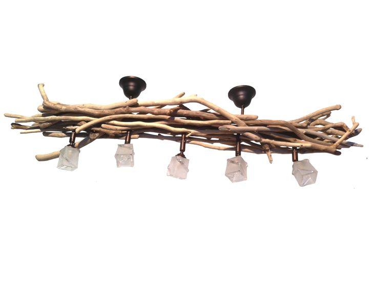 Φωτιστικό οροφής με ξύλα θαλάσσης και 5 σποτ | Wood Collection | Φωτιστικό οροφής με ξύλα θαλάσσης και 5 σποτ from Lampadari