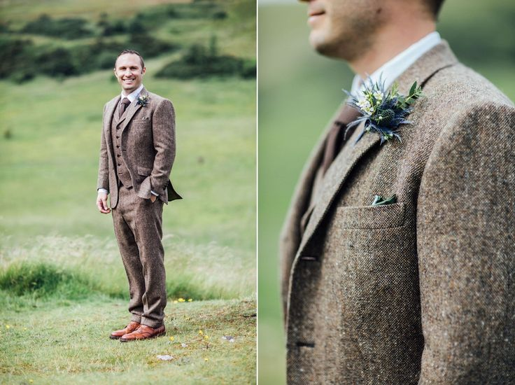 The groom wore a brown three piece tweed suit. Photography by Carley Buick.