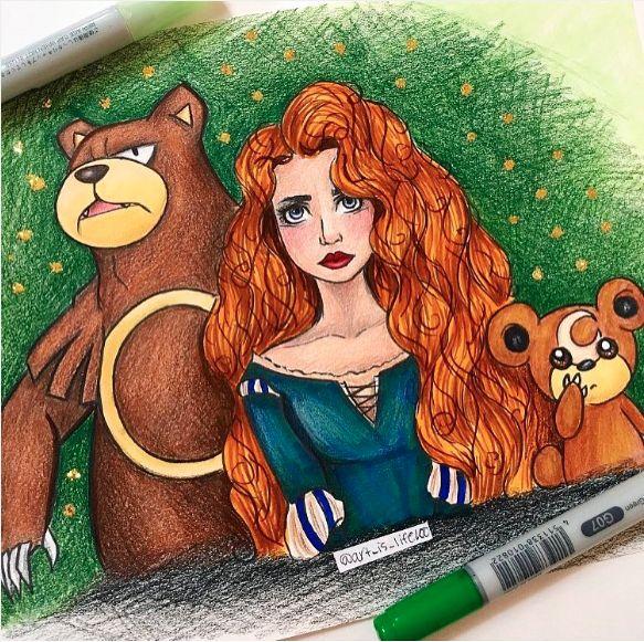 Merida, Ursaring & Teddiursa (Mash-Up by Art_Is_Life100 @Instagram) #Brave
