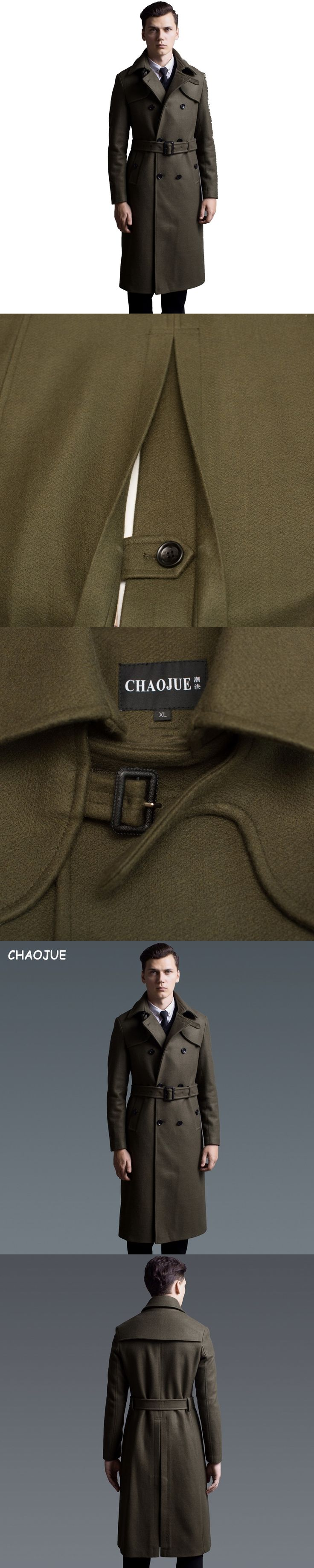 CHAOJUE Extra long wool coat male British double-breasted woolen trenchcoat mens slim fit classic army green warm pea coat