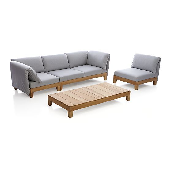party sofa with cushion arms in outdoor sofas crate and barrel - Garden Furniture Crates