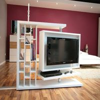 A Wonderful Tv Unit That Works Like A Space Divider This Is Perfect To Separate Out The Living And Dining Area And Offers Tons Of Niches For Decorative